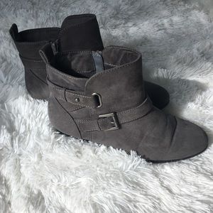 SO Gray Faux Suede Booties